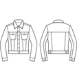 Jean jacket Front and back vector image vector image
