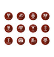 laser machine heads round red icons set vector image vector image