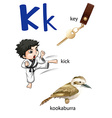 Letter K for key kick and kookaburra vector image vector image