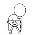 line beauty girl with balloon and hairstyle design vector image vector image