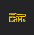 linear fork with eat me text line art icon on vector image vector image