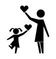 mother and daughter with hearts silhouette icon vector image vector image