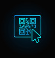 mouse click on button with qr code blue vector image