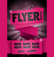 pink rock festival flyer design template for party vector image