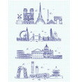 popular word cities outline panorama on notebook vector image