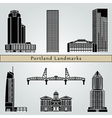 Portland landmarks and monuments vector image vector image