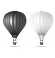 realistic hot air balloon white and black color vector image vector image