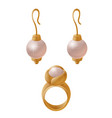 set of jewelry items golden earrings with pearls vector image vector image