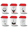 Set smiling plastic cups 010 vector image vector image