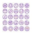 set thin line icons for christmas and vector image