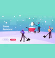 snow and ice removal landing page template vector image vector image