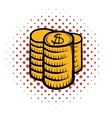 Stack of coins comics icon vector image vector image