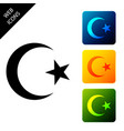 star and crescent - symbol islam icon isolated vector image vector image