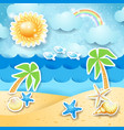 summer seascape with palms and shells vector image