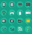 Technology Flat Icon Set vector image