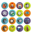 Tire service icon set vector image vector image
