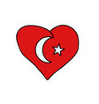 turkey isolated heart flag on white background vector image vector image
