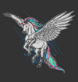 unicorn pegasus full colour artwork vector image vector image