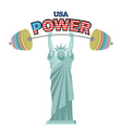 USA power Powerful Statue of Liberty barbell bench vector image vector image
