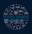 video games concept round outline vector image vector image