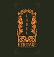 vintage design heritage art nouveau vector image vector image