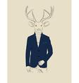 Vintage of a deer in a suit vector image vector image