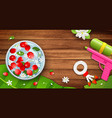 water bowl flower and gun water songkran festival vector image vector image