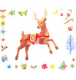 watercolor christmas set deer and other vector image vector image