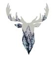 Wild Deer Head Silhouette vector image