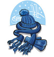 winter clothing wool scarf mittens and hat vector image vector image