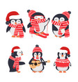 winter penguin wearing red hat and scarf set vector image