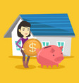 woman puts money into piggy bank for buying house vector image vector image