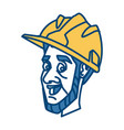 worker face with helmet cartoon vector image vector image