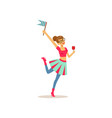 young girl having fun at college party teenager vector image vector image