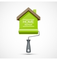 House repair icon Paint roller with green house vector image