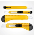 Yellow Plastic Office Paper Knifes Detailed Image vector image