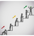 Business concept icons men on staircase vector image