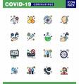 16 flat color filled line coronavirus epidemic