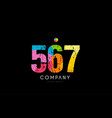 567 number grunge color rainbow numeral digit logo vector image vector image