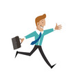 a man with a briefcase is running businessman vector image vector image
