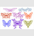 abstract floral butterflies isolated on white vector image