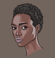 african woman face portrait cartoon style vector image vector image