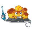 automotive orange sponge coral in shape mascot vector image vector image
