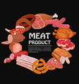 banner with meat products roast chicken and prime vector image
