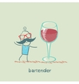 bartender stands next to a large glass of wine vector image vector image