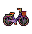 bike with basket embroidery patch vector image vector image
