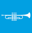 brass trumpet icon white vector image vector image