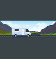 caravan car traveling on highway recreational vector image vector image
