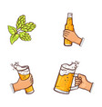 cartoon beer symbols icon set vector image vector image