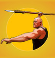cartoon brutal man aims to hold a spear vector image vector image